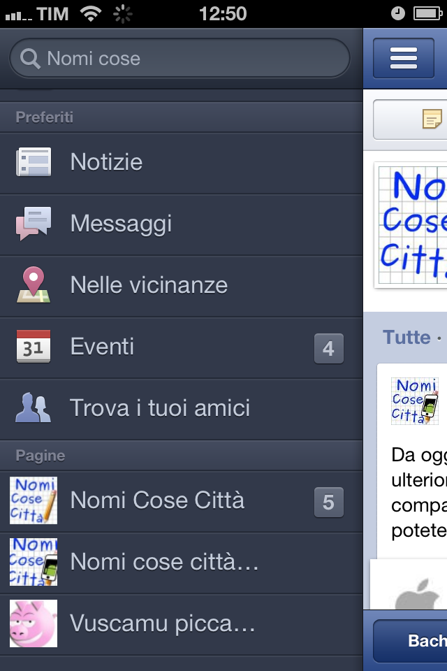 Facebook mobile menu